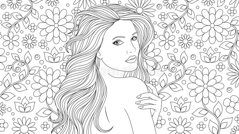 beautiful girl coloring pages stock vector illustration of