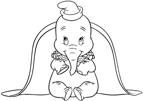 big ears dumbo coloring page free printable coloring pages