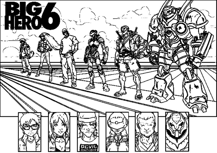big hero 6 to color for kids big hero 6 kids coloring pages