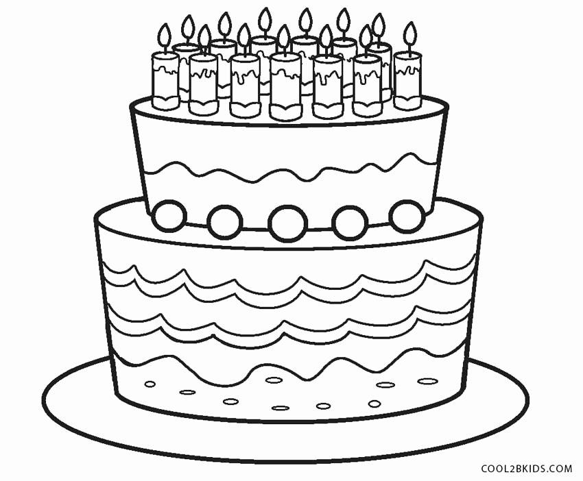 birthday cake coloring page elegant free printable birthday