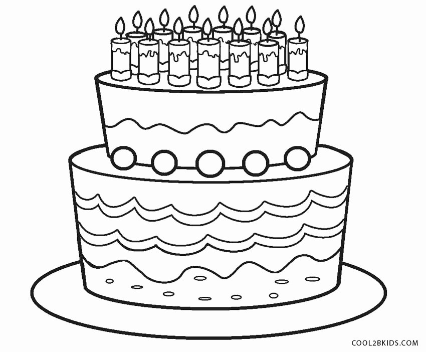birthday cake coloring page elegant free printable birthday
