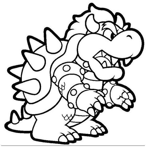 bowser coloring page for kids cartoon coloring pages