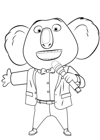 buster moon from sing coloring page free printable