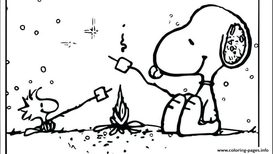 camping for kids fire snoopy coloring pages printable