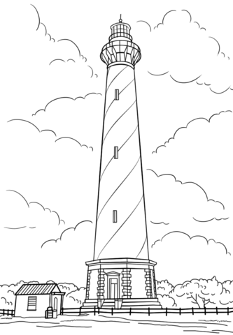 cape hatteras lighthouse north carolina coloring page
