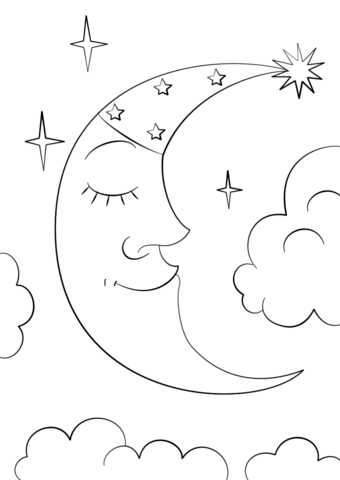 cartoon crescent moon coloring page free printable
