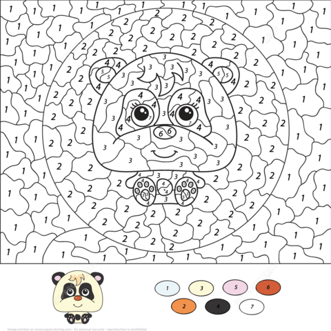 cartoon panda color number free printable coloring pages