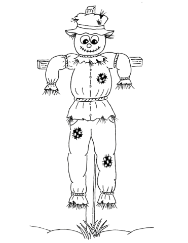 cartoon scarecrow coloring page free printable coloring pages