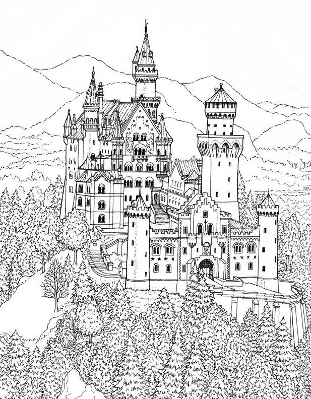 castle 89 buildings and architecture printable coloring