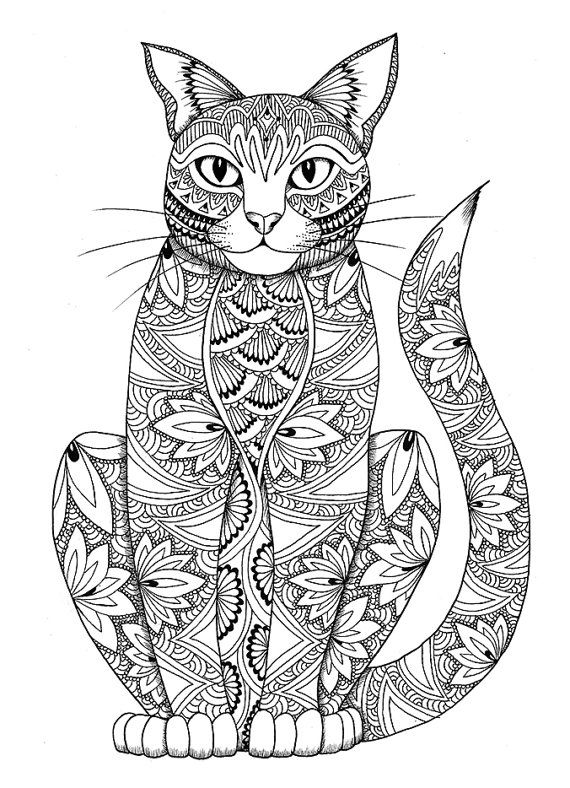 cat coloring page miedzykreskami on etsy cat coloring