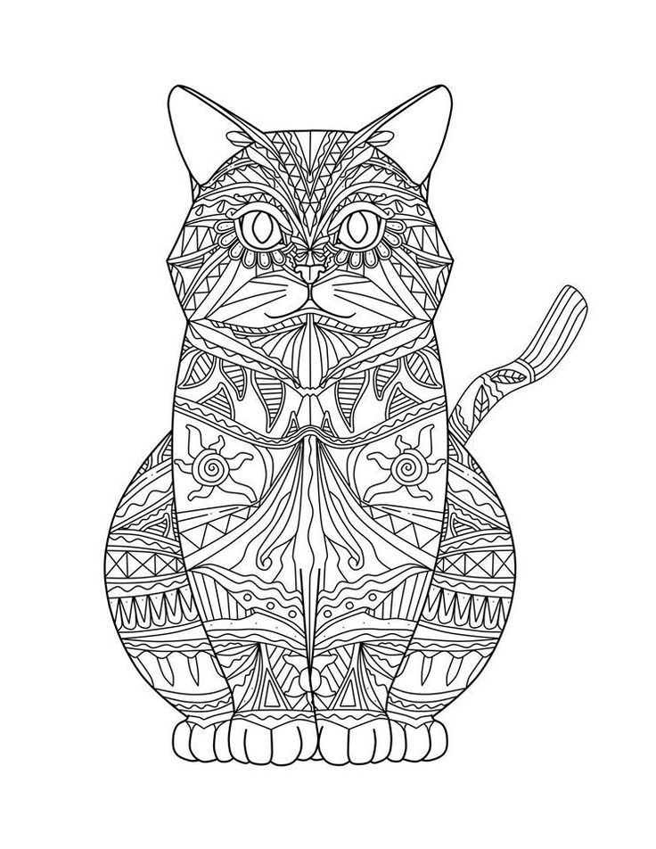 cat coloring pages for adults part 1