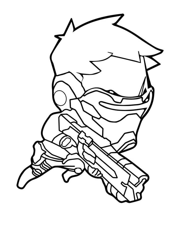 chibi soldier overwatch coloring page free printable