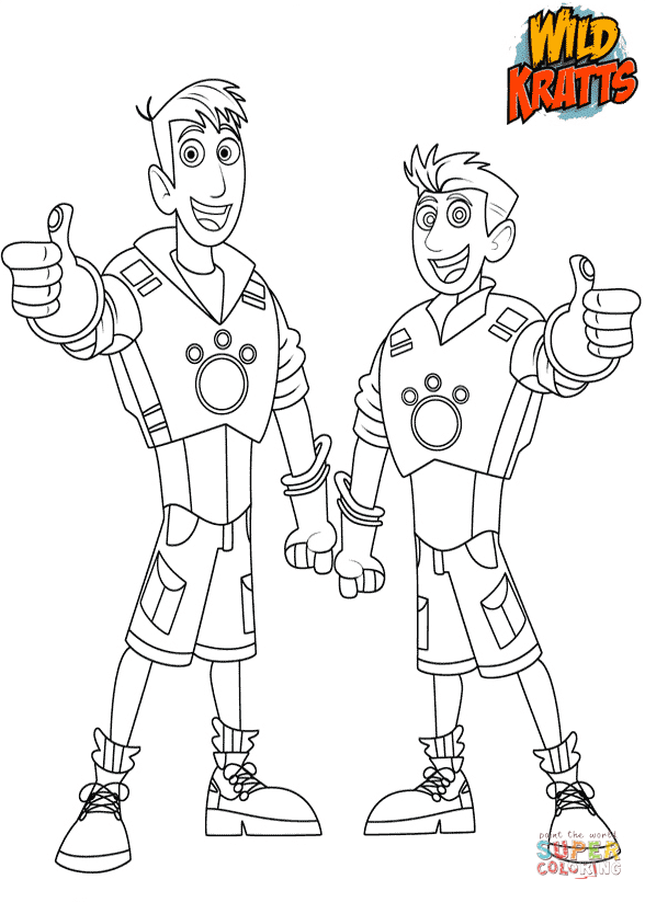 chris and martin kratts coloring page free printable