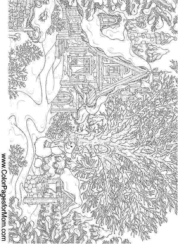 christmas landscape coloring pages christmas landscape