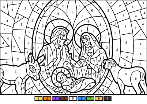 christmas nativity scene color number free printable