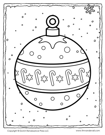 christmas ornament coloring page tims printables