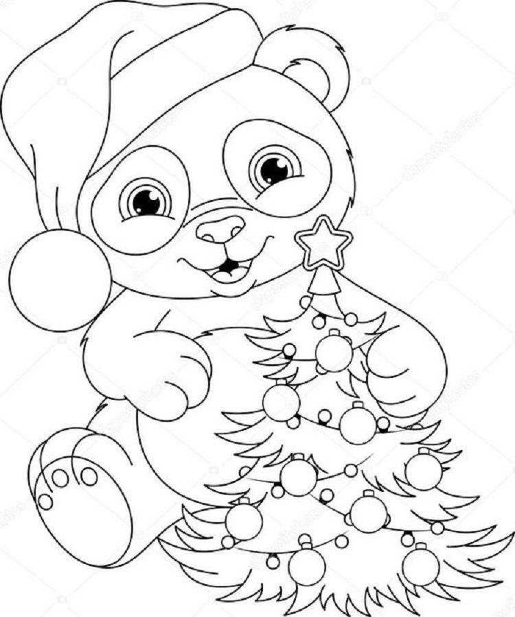 christmas panda coloring pages ausmalbilder bilder zum