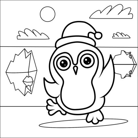 christmas penguin coloring page free printable coloring pages