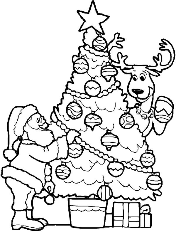 christmas tree and santa coloring page coloring point