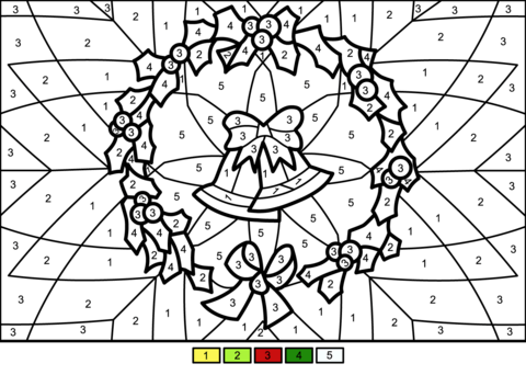 christmas wreath color number free printable coloring pages