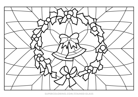 christmas wreath stained glass coloring page free