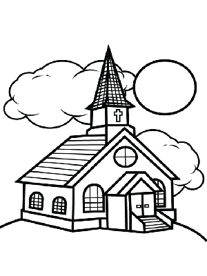 church and clouds coloring page