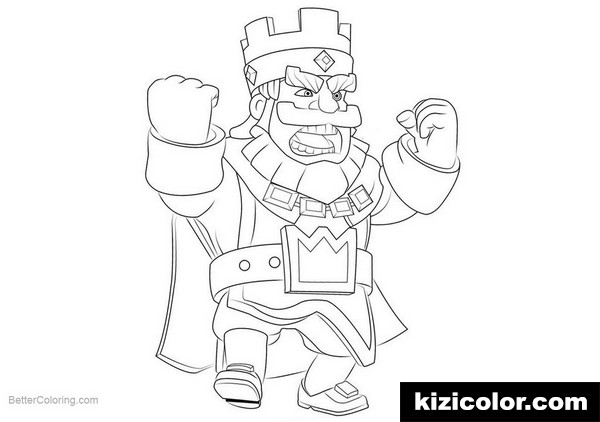 clash royale king kizi free coloring pages for children
