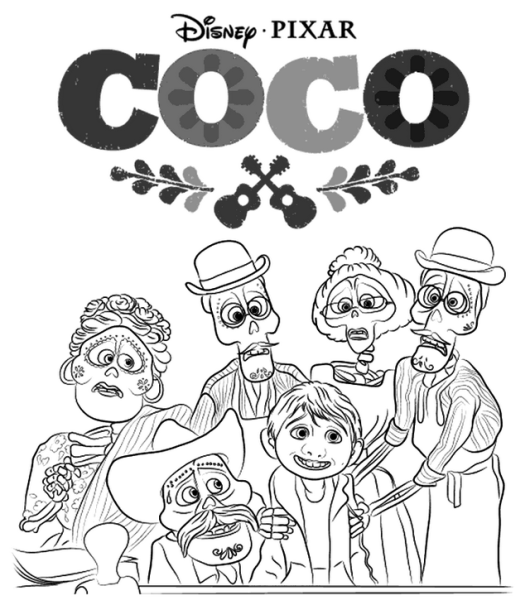 coco characters disney coloring page malvorlagen