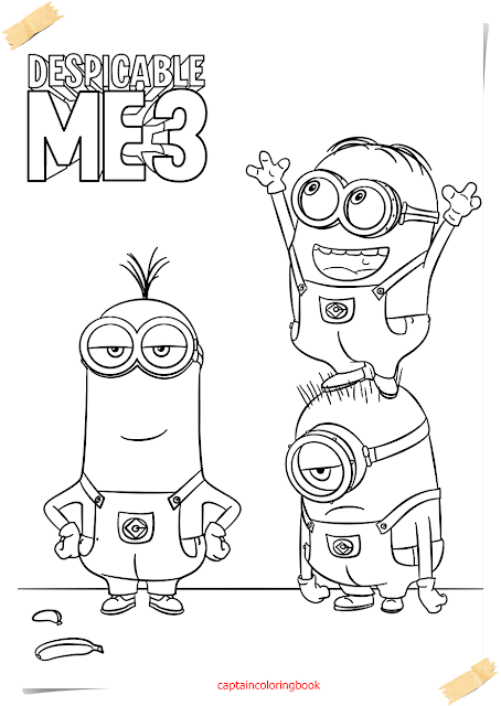 coloring page despicable me 3 minions coloring page