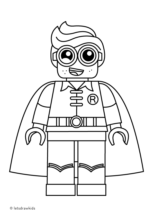 coloring page for kids lego robin from the lego batman