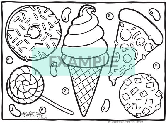 coloring page kawaii food printable adult coloring pizza donuts candy ice cream coloring book adults coloring coloring pages