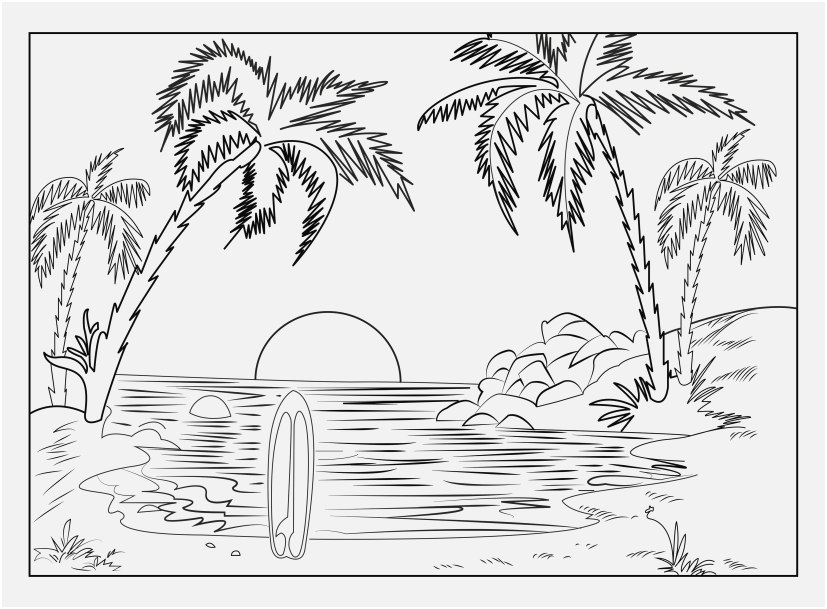 coloring page sunset picture beach coloring pages free