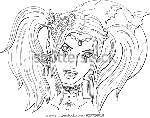 coloring pages adults beautiful girl vampire stock