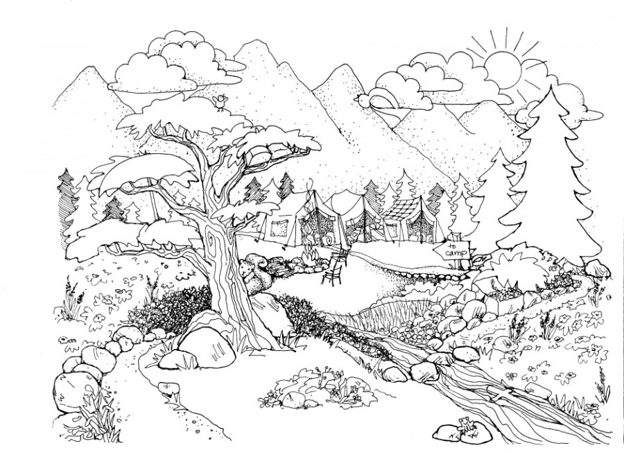 coloring pages for adults nature on coloring pages design