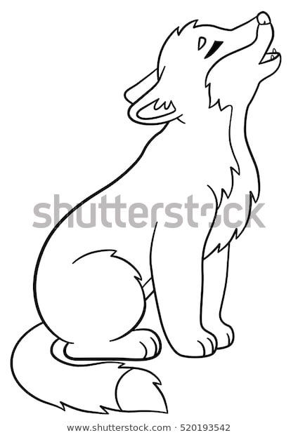 coloring pages little cute ba wolf stock vektorgrafik