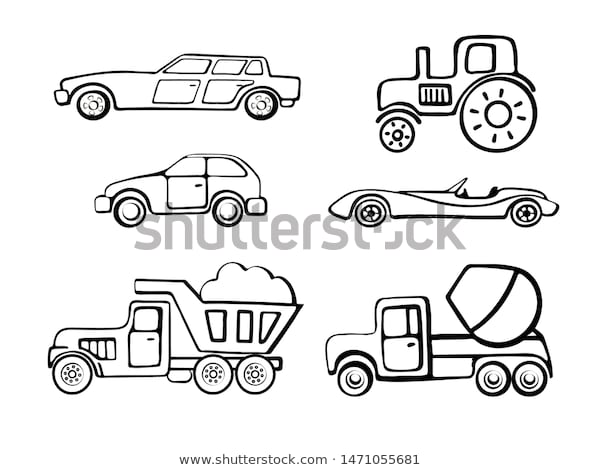 coloring pages outline cartoon cars coloring stock