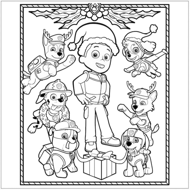 coloring pages paw patrol christmas coloring free sheets