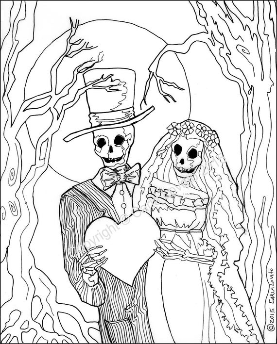 coloring pages skeleton wedding color page day of the dead digital downloaded digital color page adult coloring skeleton bride