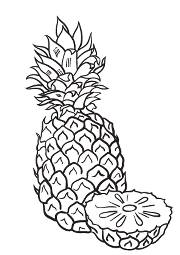 coloring pages sliced pineapple coloring page