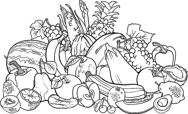 coloring pages with fruits and vegetables