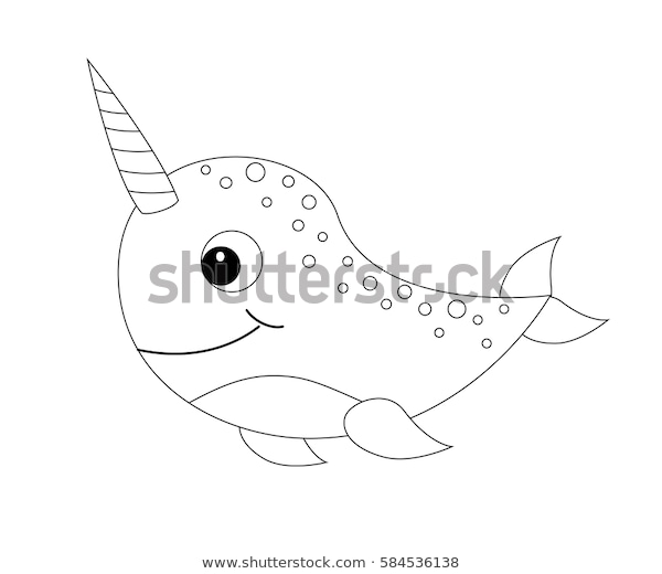 colorless cartoon narwhal coloring page preschool stock
