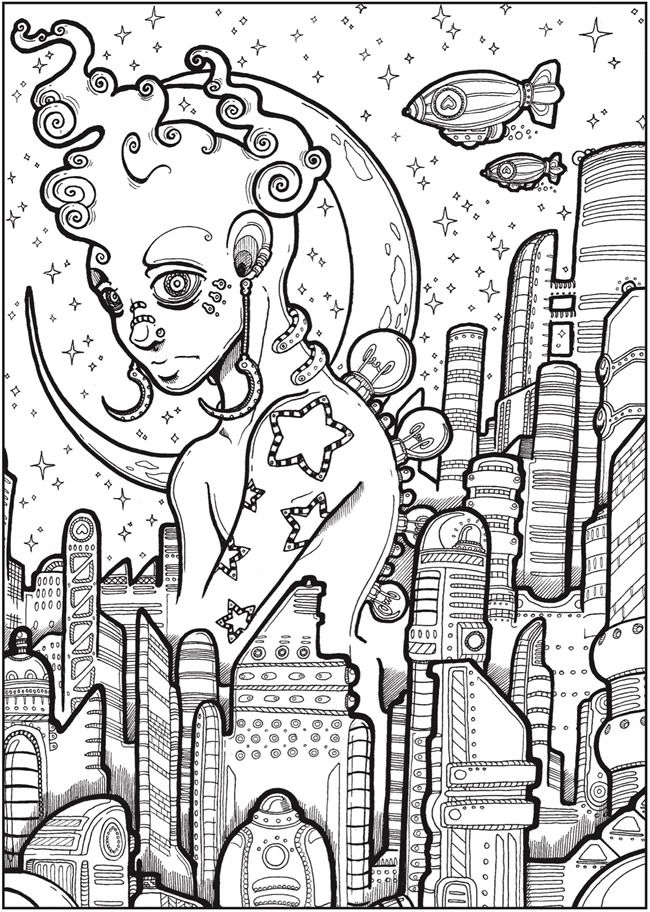creative haven futuristic worlds coloring book dover