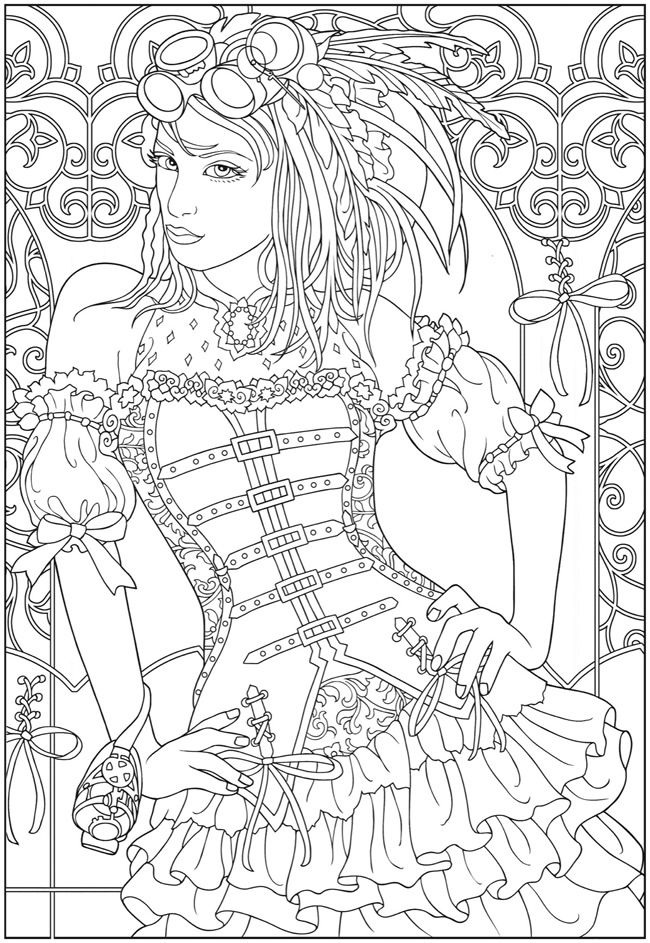 creative haven steampunk fashions sample colouring pages