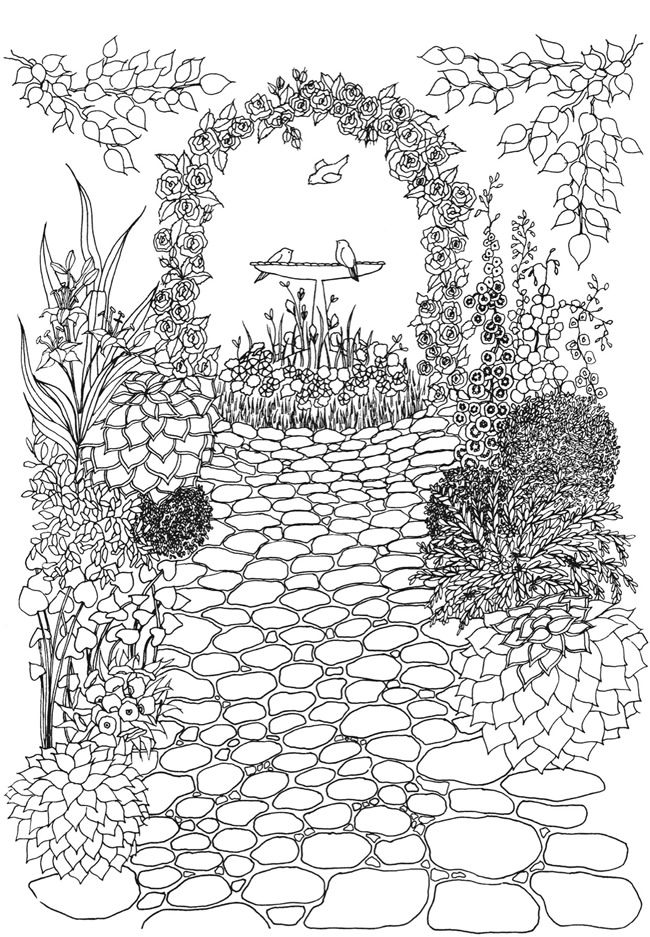 creative haven whimsical gardens coloring book coloring page