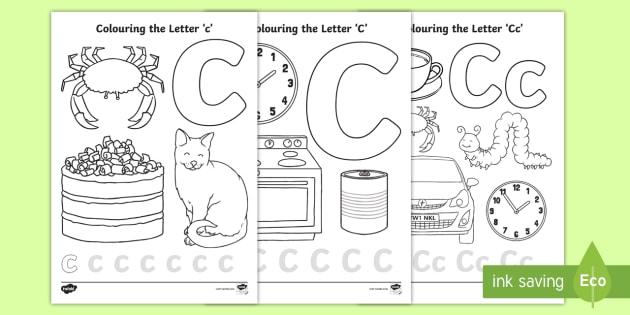 cursive letter c colouring pages