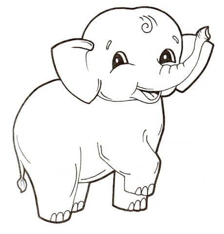 cute ba elephant coloring page free printable coloring pages