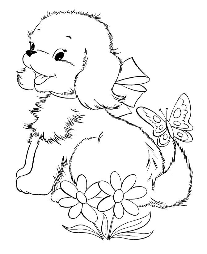 cute ba puppies and butterfly coloring page puppy