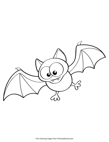 cute bat coloring page free printable pdf from primarygames