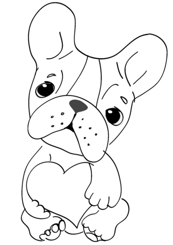 cute dog with heart coloring page free printable coloring