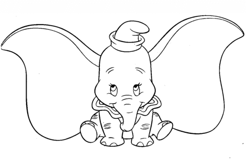 cute dumbo coloring page free printable coloring pages